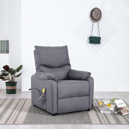 Rozkładany fotel telewizyjny z masażem, jasnoszary, tkanina