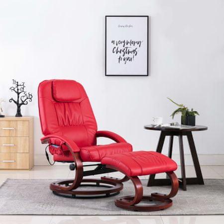 shumee Fotel do masażu z podnóżkiem, regulowany, czerwony, ekoskóra