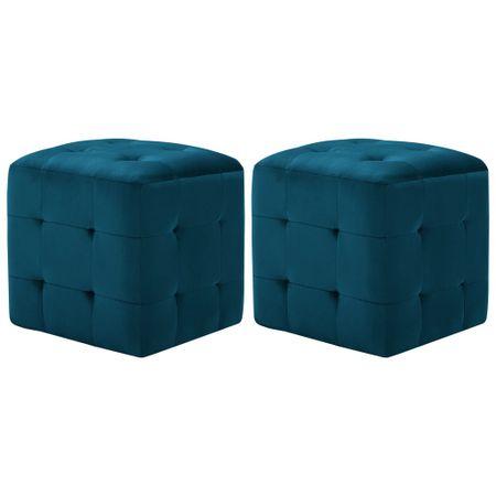 shumee 2 db kék bársony éjjeliszekrény 30 x 30 x 30 cm