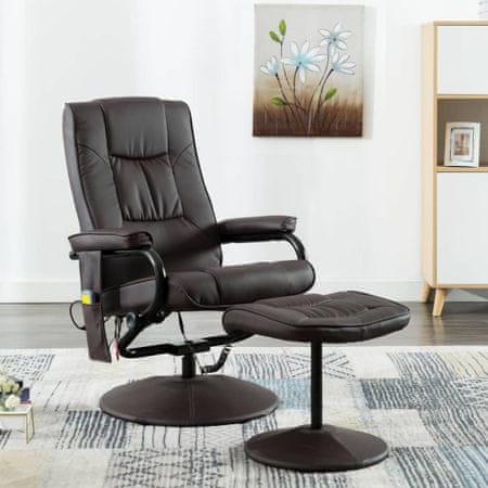 shumee Fotel masujący z podnóżkiem, brązowy, sztuczna skóra
