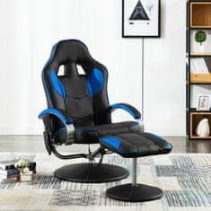 shumee Fotel masujący z podnóżkiem, niebieski, sztuczna skóra