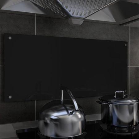 shumee Kuhinjska zaščitna obloga črna 90x40 cm kaljeno steklo