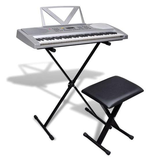 shumee Elektronický keyboard, nastaviteľný stojan na klávesy a stolička