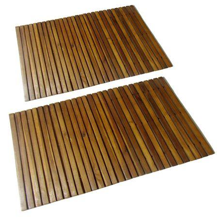 Mata prysznicowa z drewna akacjowego, 2 sztuki, 80 x 50 cm
