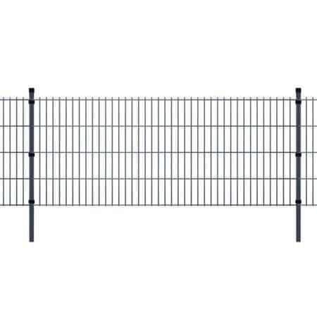 2D Panele i słupki ogrodzeniowe 2008x1230 mm 2 m szare