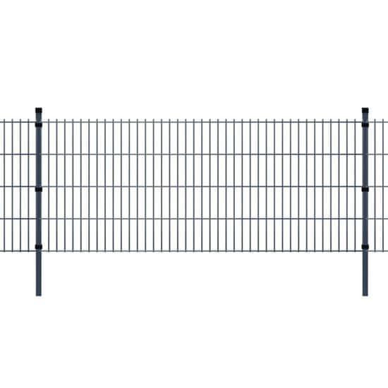 shumee 2D Zahradní plotové dílce a sloupky 2008x1430 mm 28 m šedé