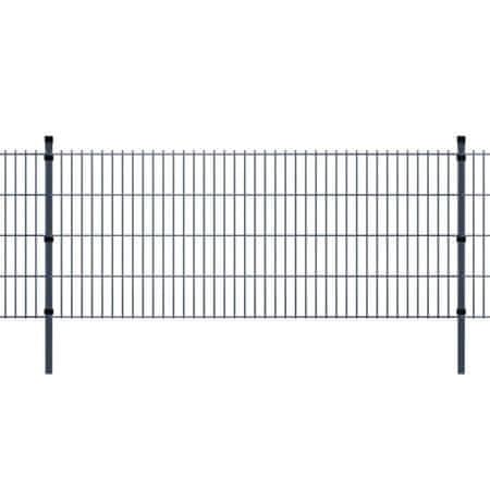 shumee Panele ogrodzeniowe 2D z słupkami 2008x830 mm 18 m Szare