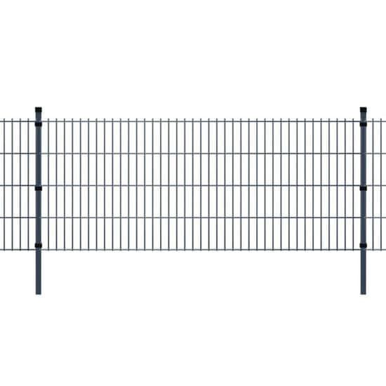 shumee 2D Zahradní plotové dílce a sloupky 2008x1630 mm 22 m šedé