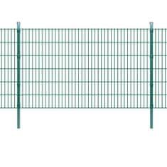 2D Panele i słupki ogrodzeniowe 2008x1230 mm 12 m zielone