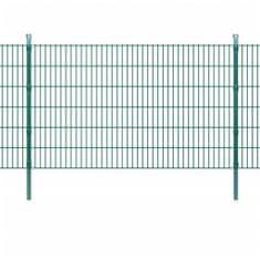 2D Panele i słupki ogrodzeniowe 2008x1230 mm 32 m zielone