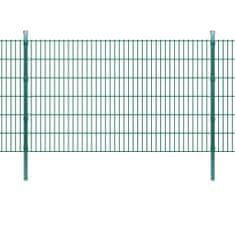2D Panele i słupki ogrodzeniowe 2008x1230 mm 2 m zielone