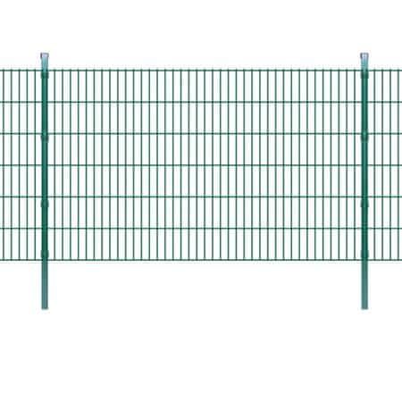 shumee 2D Panele i słupki ogrodzeniowe 2008x1230 mm 4 m zielone