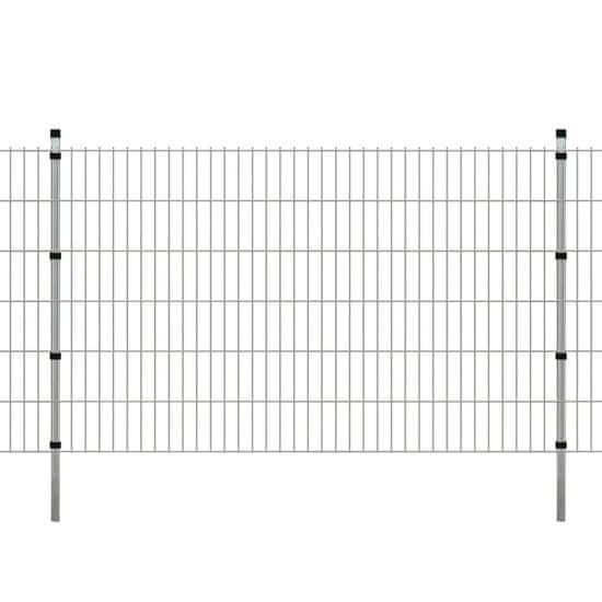 shumee 2D Zahradní plotové dílce a sloupky 2008x1230 mm 50 m stříbrné