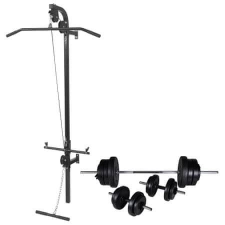 shumee Ścienny wyciąg do ćwiczeń ze sztangą i zestawem hantli, 60,5 kg