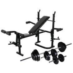 shumee súlyzópad állvánnyal, egykezes és kétkezes súlyzószettel 30,5 kg
