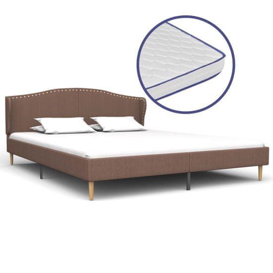 Vidaxl Postel s matrací s paměťovou pěnou hnědá textil 160 x 200 cm