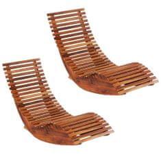 shumee Hojdacie záhradné ležadlá z akáciového dreva 2 ks