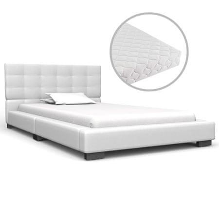 shumee fehér műbőr ágy matraccal 90 x 200 cm