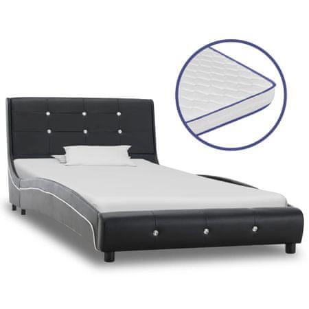 shumee fekete műbőr ágy memóriahabos matraccal 90 x 200 cm