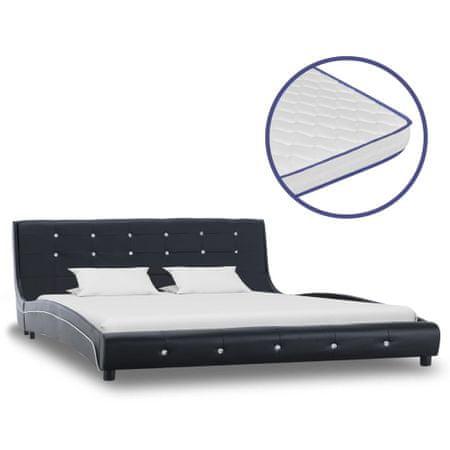 shumee fekete műbőr ágy memóriahabos matraccal 160 x 200 cm