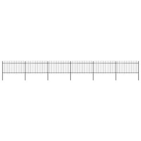 shumee fekete lándzsahegyes tetejű kerti acélkerítés 10,2 x 1 m