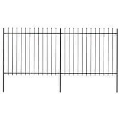 shumee Zahradní plot s hroty ocel 3,4 x 1,5 m černý