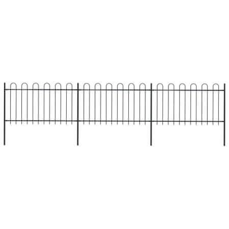 Ogrodzenie z zaokrąglonymi końcami, stalowe, 5,1 x 1 m, czarne