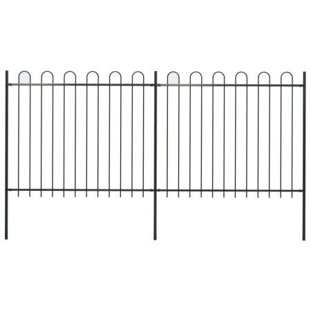 Ogrodzenie z zaokrąglonymi końcami, stalowe, 3,4x1,5 m, czarne
