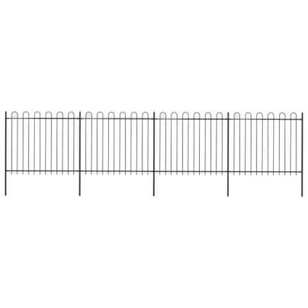Ogrodzenie z zaokrąglonymi końcami, stalowe, 6,8x1,5 m, czarne