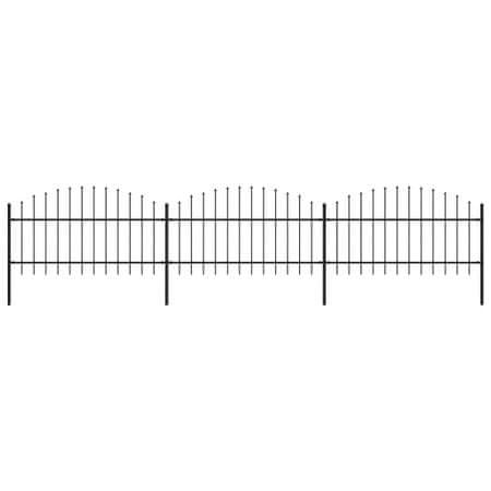 shumee Panele ogrodzeniowe z grotami, stal, (1-1,25) x 5,1 m, czarne