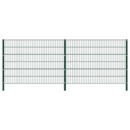 shumee Panel ogrodzeniowy ze słupkami, żelazny, 3,4 x 1,2 m, zielony