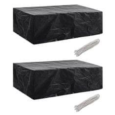 shumee Plachty na zahradní nábytek 2 ks polyratan 10 oček 300 x 140 cm