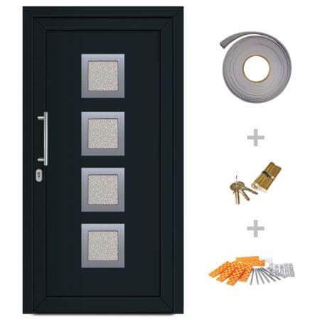 Drzwi wejściowe zewnętrzne, antracytowe, 108 x 200 cm