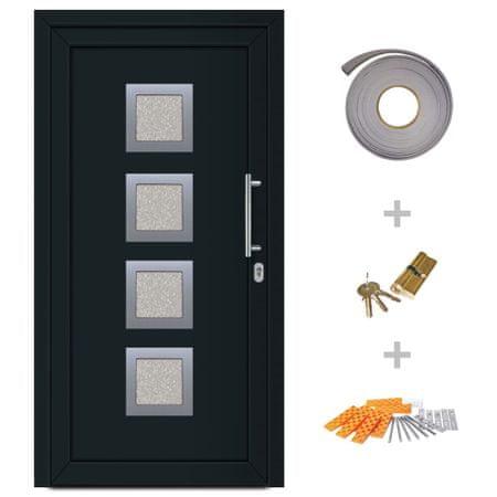 Drzwi wejściowe zewnętrzne, antracytowe, 88 x 200 cm