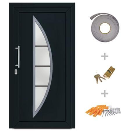 Drzwi wejściowe zewnętrzne, antracytowe, 98 x 190 cm