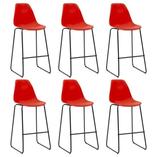 Barové stoličky 6 ks, červené, plast