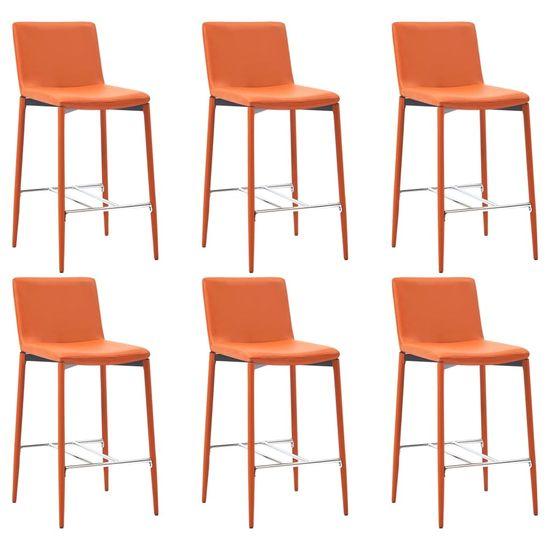 Barové stoličky 6 ks, oranžové, umelá koža