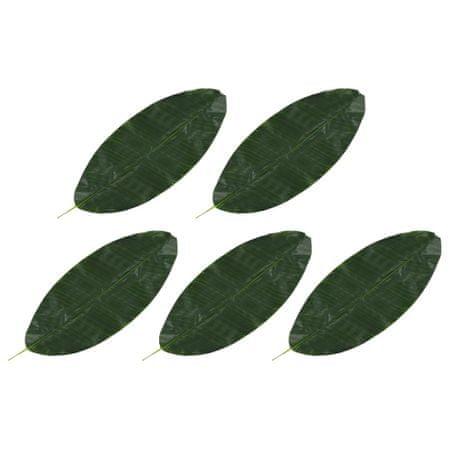 Sztuczne liście bananowca, 5 szt., zielone, 80 cm
