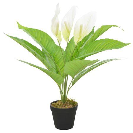 Sztuczna roślina anturium z doniczką, biały, 55 cm