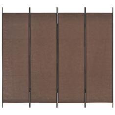 4-panelový paraván hnedý 200x180 cm