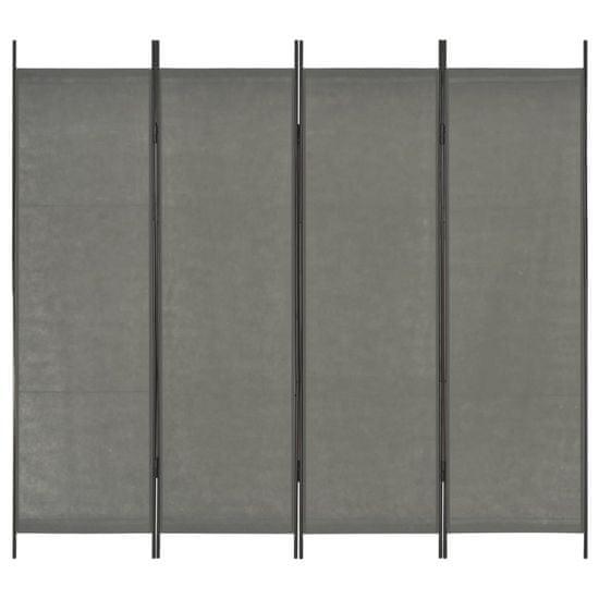 4-panelový paraván antracitový 200x180 cm