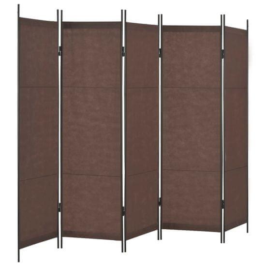 5-panelový paraván hnedý 250x180 cm