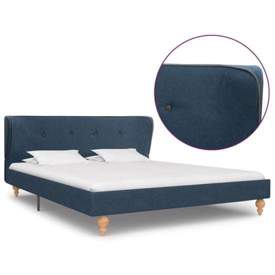Rám postele modrý látkový 140x200 cm