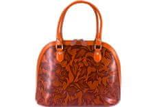 Arteddy Dámská kožená kabelka s květovaným vzorem Arteddy - hnědá/camel