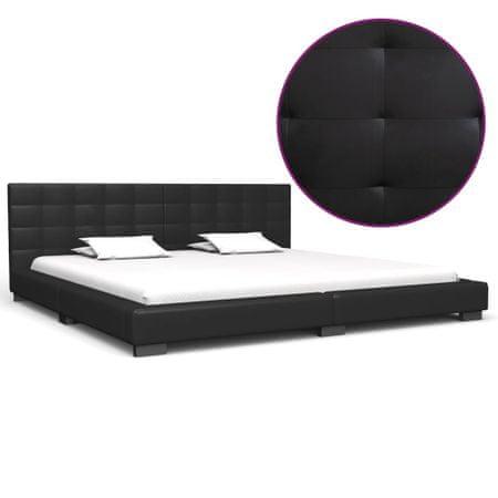 shumee fekete műbőr ágykeret 200 x 180 cm