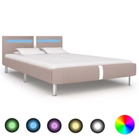 shumee cappuccino színű LED-es műbőr ágykeret 140 x 200 cm