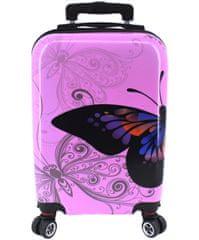 Arteddy Cestovní palubní kufr na čtyřech kolečkách Arteddy -(XS) 30l motýl/růžová