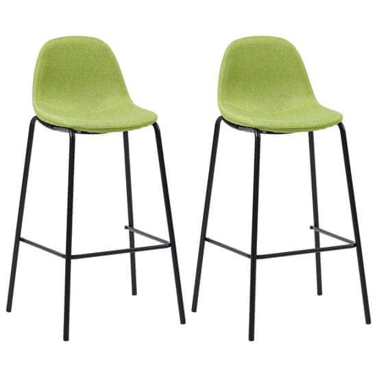 Barové stoličky 2 ks, zelené, látka