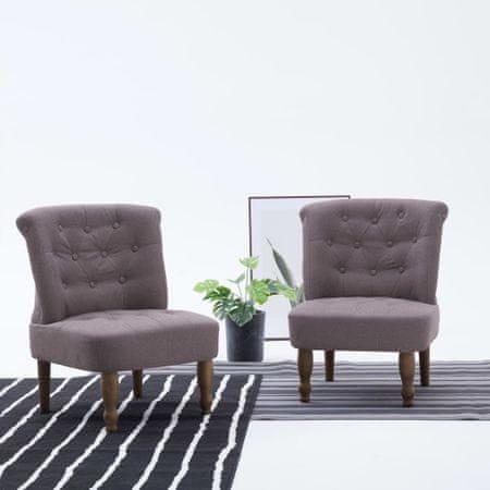 shumee 2 db szürkésbarna szövetkárpitozású francia szék