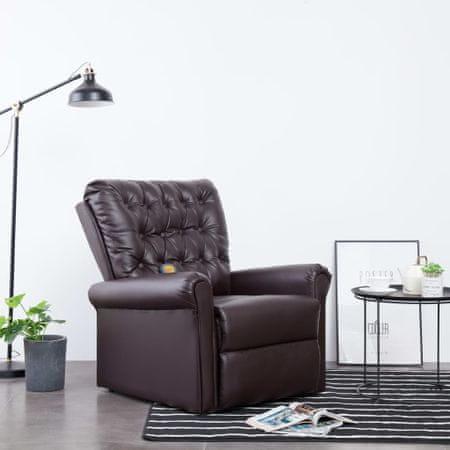Rozkładany fotel masujący, brązowy, sztuczna skóra